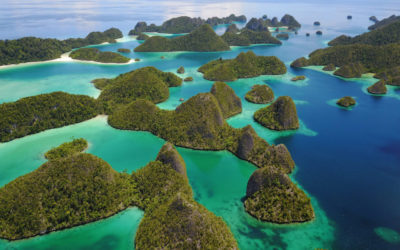 Aerial Drone shoot of the Wayag islands