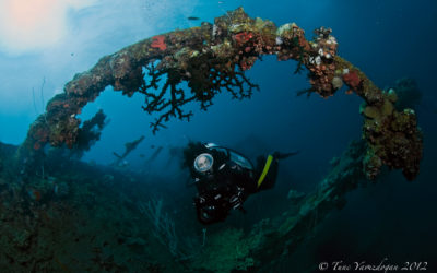 Wreck with female diver